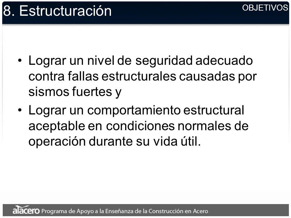 8. Estructuración Lograr un nivel de seguridad adecuado contra fallas estructurales causadas por sismos fuertes y Lograr un comportamiento estructural
