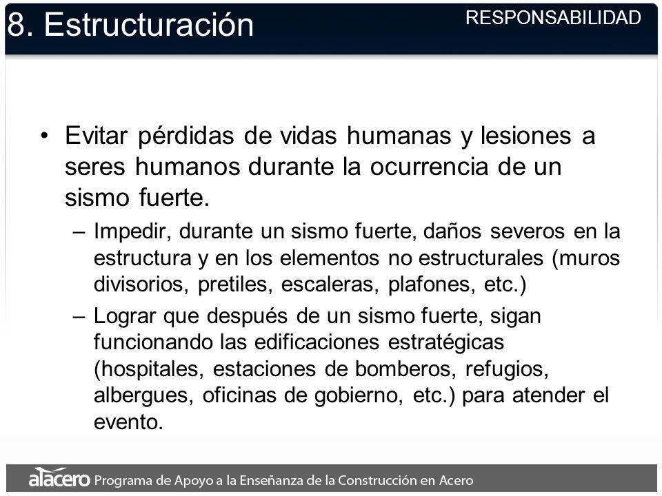 8. Estructuración Evitar pérdidas de vidas humanas y lesiones a seres humanos durante la ocurrencia de un sismo fuerte. –Impedir, durante un sismo fue