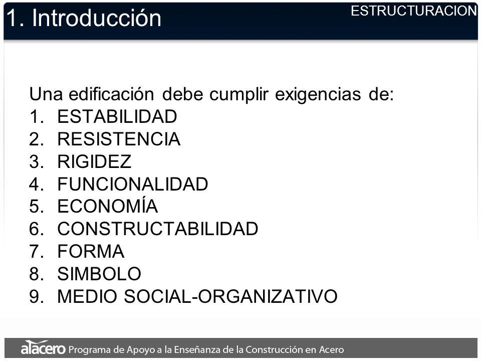 1. Introducción Una edificación debe cumplir exigencias de: 1.ESTABILIDAD 2.RESISTENCIA 3.RIGIDEZ 4.FUNCIONALIDAD 5.ECONOMÍA 6.CONSTRUCTABILIDAD 7.FOR