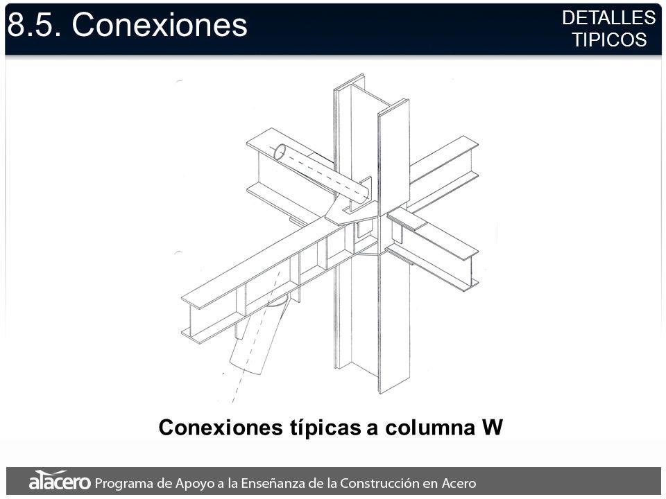 Conexiones típicas a columna W 8.5. Conexiones DETALLES TIPICOS