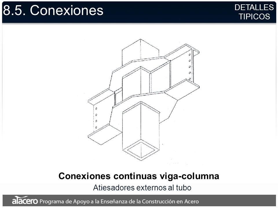 Conexiones continuas viga-columna Atiesadores externos al tubo 8.5. Conexiones DETALLES TIPICOS