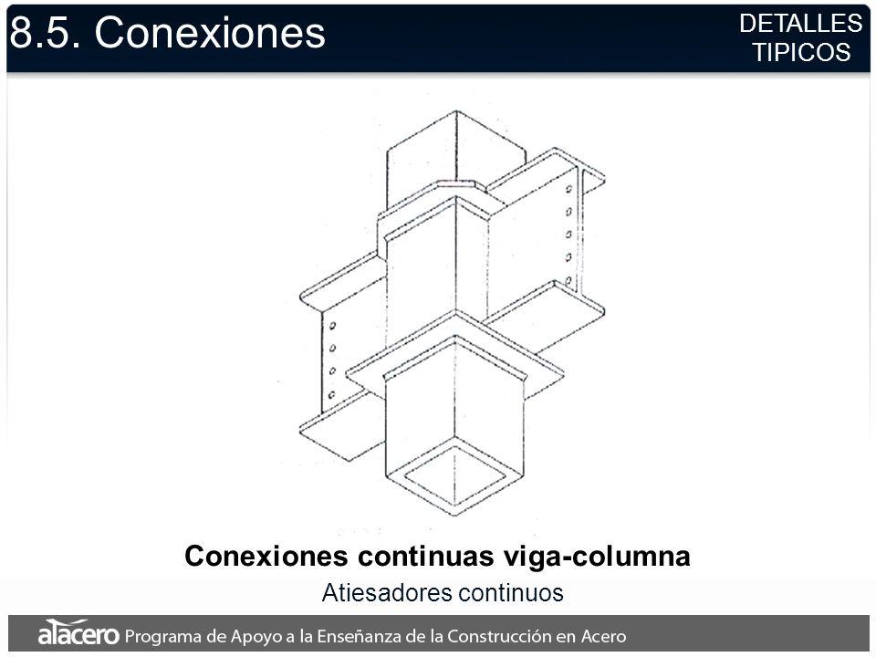 8.5. Conexiones Conexiones continuas viga-columna Atiesadores continuos DETALLES TIPICOS