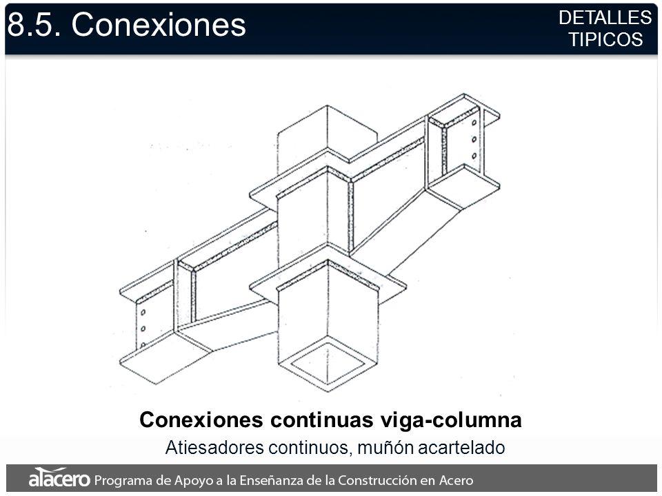 8.5. Conexiones Conexiones continuas viga-columna Atiesadores continuos, muñón acartelado DETALLES TIPICOS