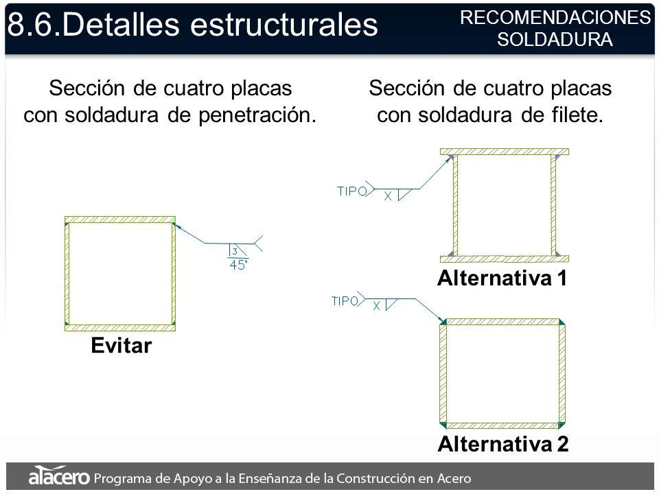 Sección de cuatro placas con soldadura de penetración. Evitar 8.6.Detalles estructurales RECOMENDACIONES SOLDADURA Alternativa 1 Alternativa 2 Sección