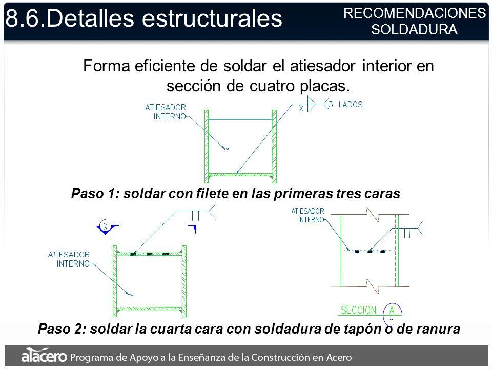 8.6.Detalles estructurales Forma eficiente de soldar el atiesador interior en sección de cuatro placas. Paso 1: soldar con filete en las primeras tres