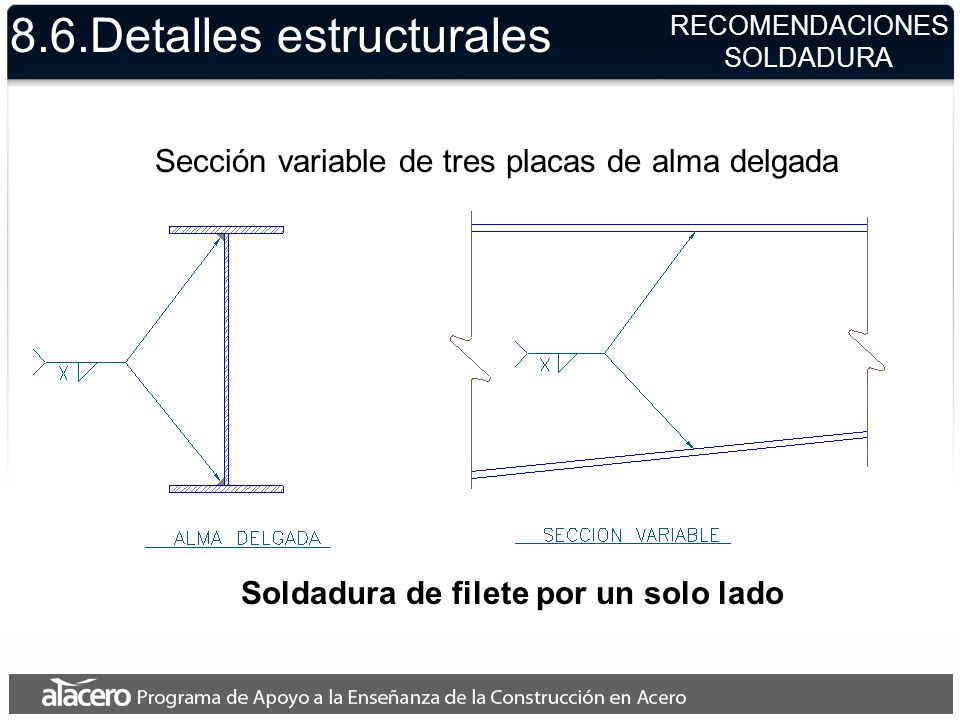 8.6.Detalles estructurales Soldadura de filete por un solo lado Sección variable de tres placas de alma delgada RECOMENDACIONES SOLDADURA