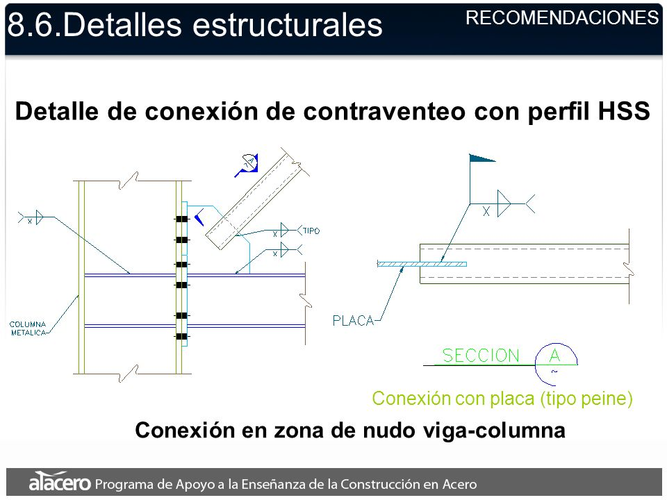 8.6.Detalles estructurales RECOMENDACIONES Detalle de conexión de contraventeo con perfil HSS Conexión en zona de nudo viga-columna Conexión con placa