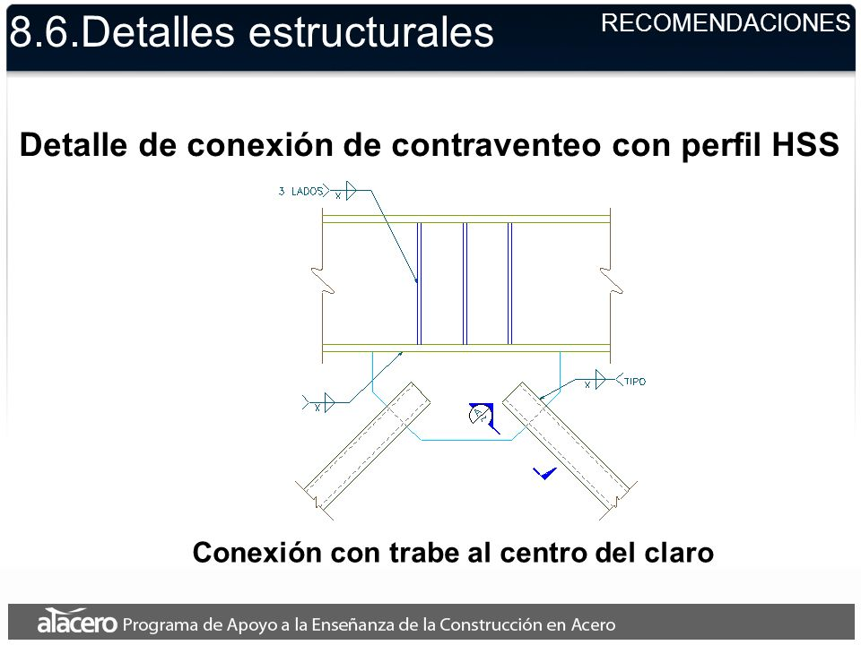 8.6.Detalles estructurales RECOMENDACIONES Detalle de conexión de contraventeo con perfil HSS Conexión con trabe al centro del claro