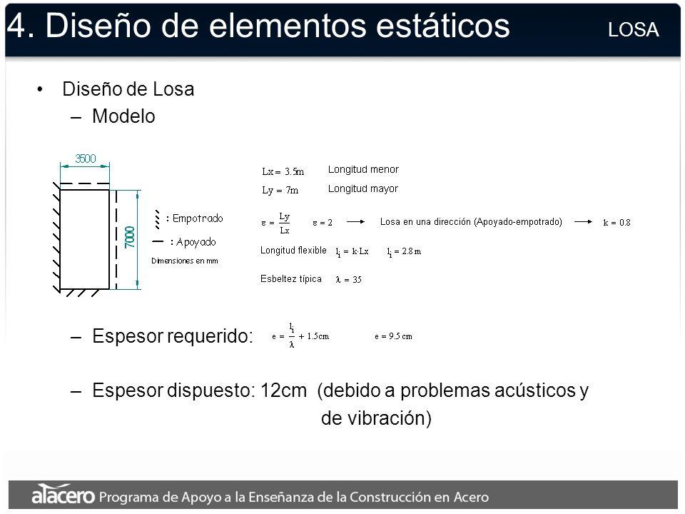 4. Diseño de elementos estáticos Diseño de Losa –Modelo –Espesor requerido: –Espesor dispuesto: 12cm (debido a problemas acústicos y de vibración) LOS