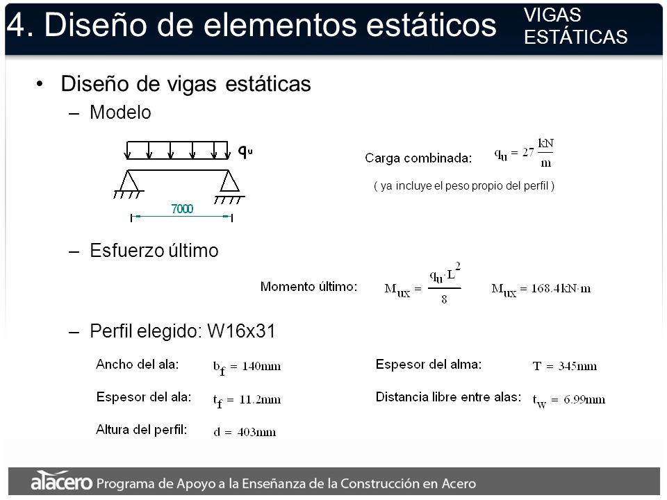 4. Diseño de elementos estáticos VIGAS ESTÁTICAS Diseño de vigas estáticas –Modelo ( ya incluye el peso propio del perfil ) –Esfuerzo último –Perfil e