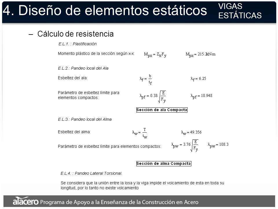 4. Diseño de elementos estáticos VIGAS ESTÁTICAS –Cálculo de resistencia