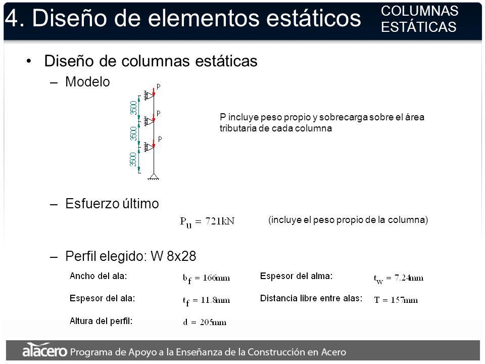 Diseño de columnas estáticas –Modelo P incluye peso propio y sobrecarga sobre el área tributaria de cada columna –Esfuerzo último (incluye el peso pro