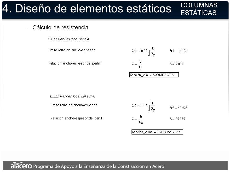 –Cálculo de resistencia 4. Diseño de elementos estáticos COLUMNAS ESTÁTICAS