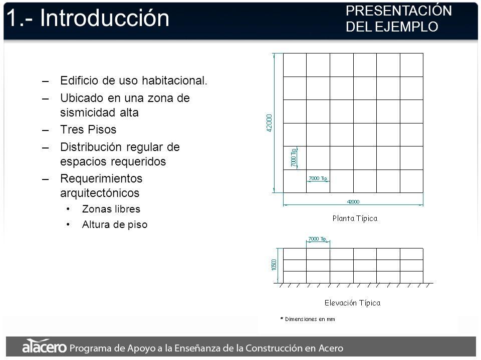 1.- Introducción –Edificio de uso habitacional. –Ubicado en una zona de sismicidad alta –Tres Pisos –Distribución regular de espacios requeridos –Requ