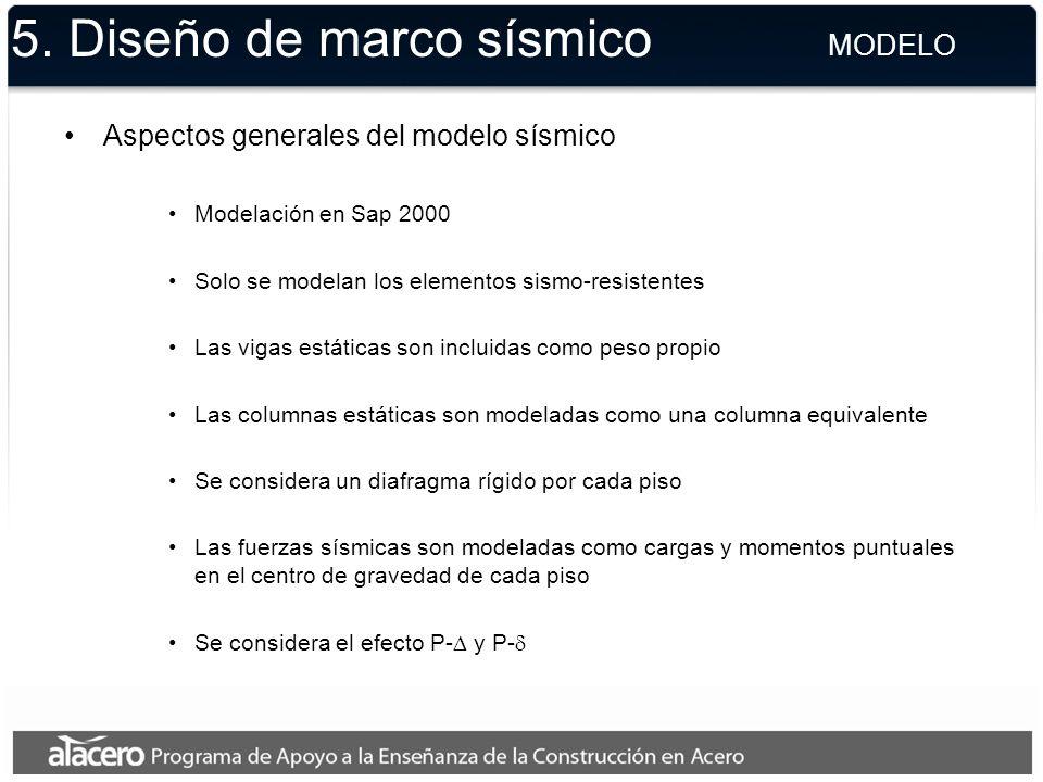 5. Diseño de marco sísmico MODELO Aspectos generales del modelo sísmico Modelación en Sap 2000 Solo se modelan los elementos sismo-resistentes Las vig