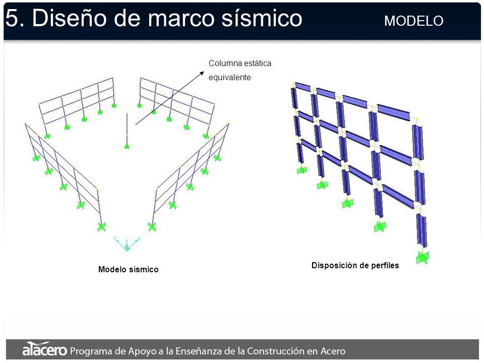 5. Diseño de marco sísmico Disposición de perfiles Modelo sísmico Columna estática equivalente MODELO