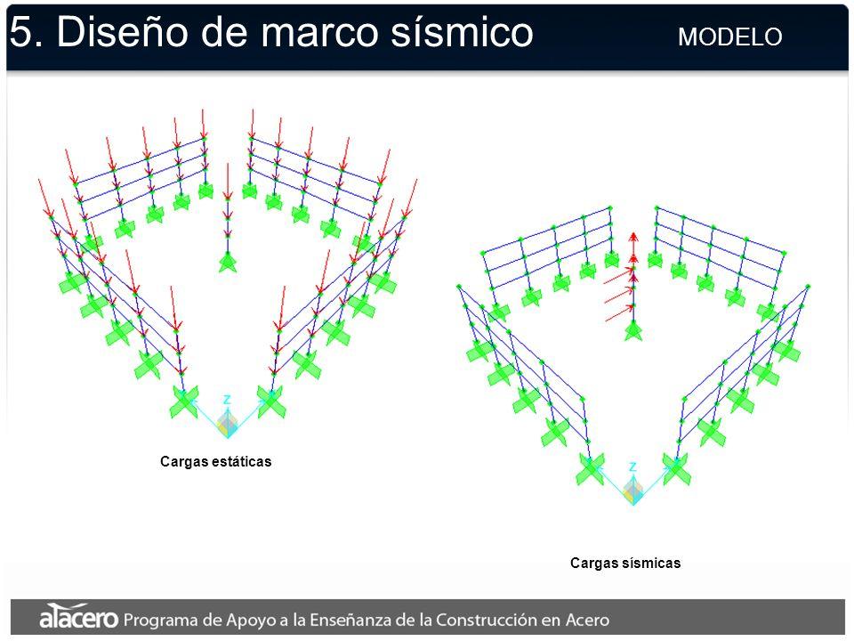 5. Diseño de marco sísmico MODELO Cargas estáticas Cargas sísmicas