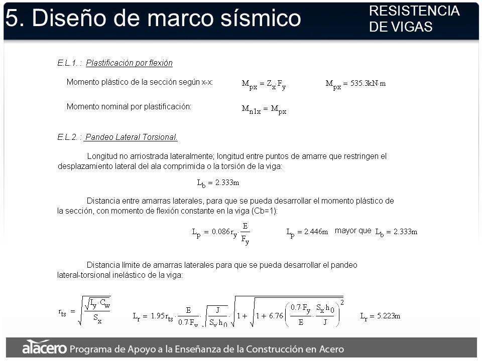 5. Diseño de marco sísmico RESISTENCIA DE VIGAS