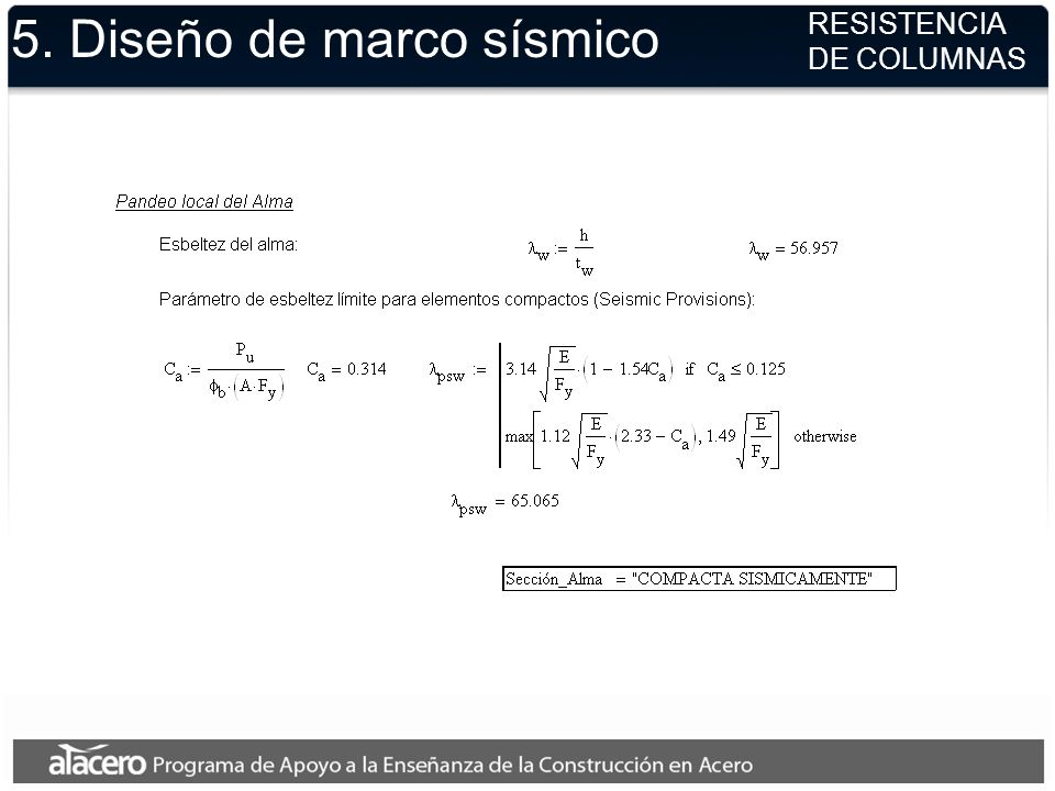 5. Diseño de marco sísmico RESISTENCIA DE COLUMNAS