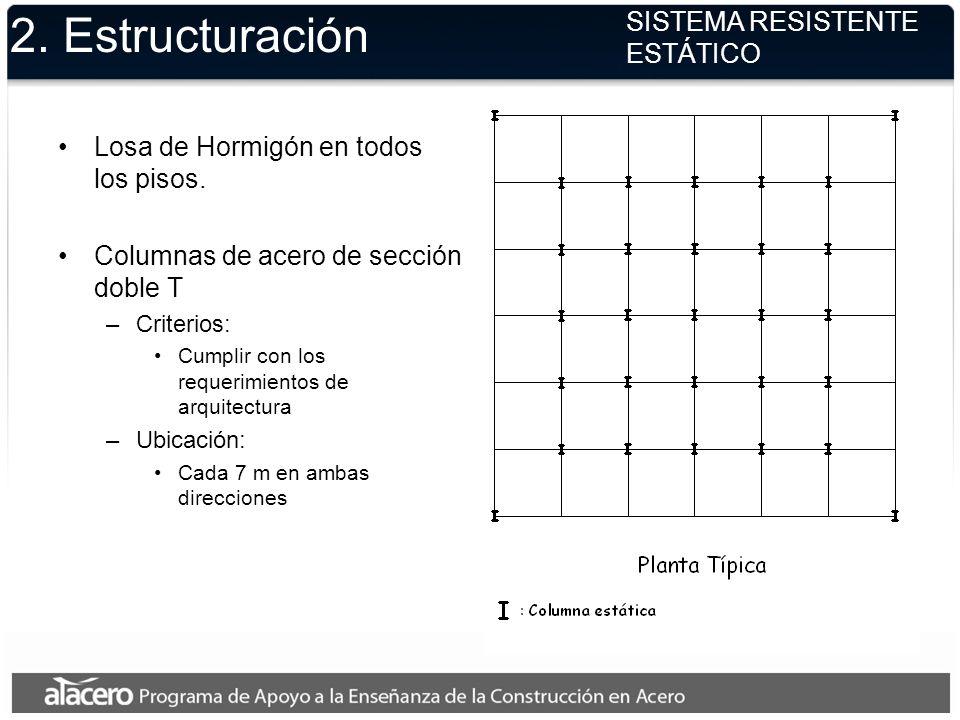 2. Estructuración Losa de Hormigón en todos los pisos. Columnas de acero de sección doble T –Criterios: Cumplir con los requerimientos de arquitectura