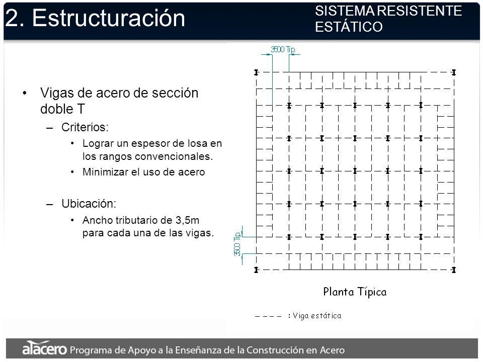2. Estructuración SISTEMA RESISTENTE ESTÁTICO Vigas de acero de sección doble T –Criterios: Lograr un espesor de losa en los rangos convencionales. Mi