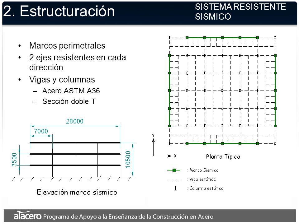 2. Estructuración SISTEMA RESISTENTE SISMICO Marcos perimetrales 2 ejes resistentes en cada dirección Vigas y columnas –Acero ASTM A36 –Sección doble
