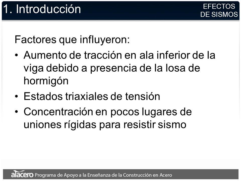 1. Introducción Factores que influyeron: Aumento de tracción en ala inferior de la viga debido a presencia de la losa de hormigón Estados triaxiales d