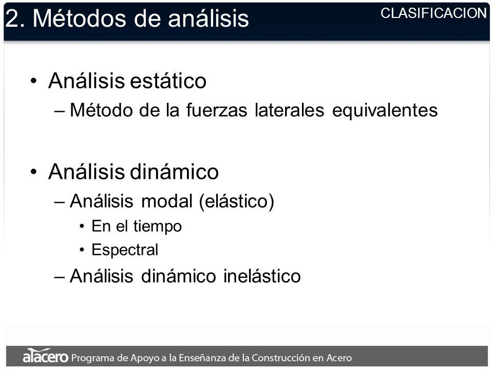 CLASIFICACION 2. Métodos de análisis Análisis estático –Método de la fuerzas laterales equivalentes Análisis dinámico –Análisis modal (elástico) En el