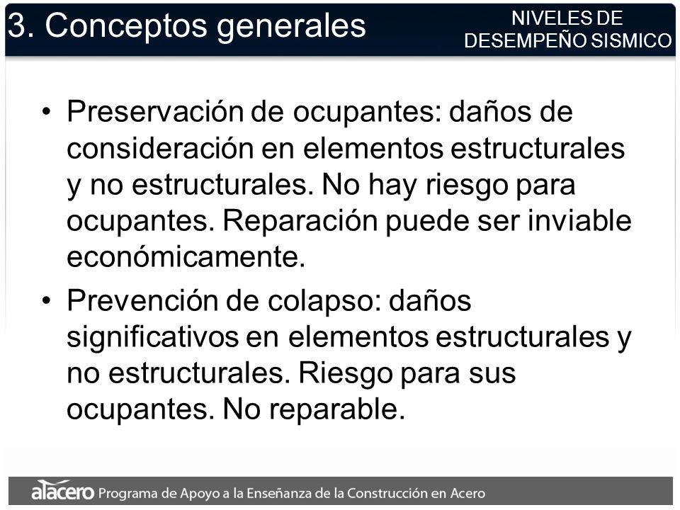 NIVELES DE DESEMPEÑO SISMICO 3. Conceptos generales Preservación de ocupantes: daños de consideración en elementos estructurales y no estructurales. N