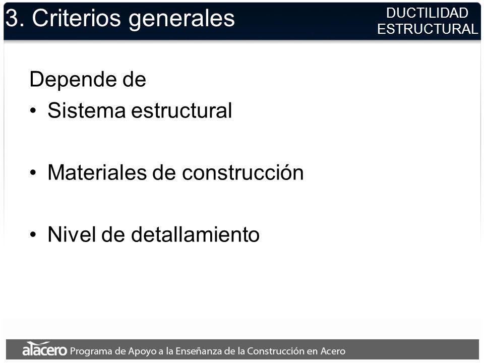 DUCTILIDAD ESTRUCTURAL 3. Criterios generales Depende de Sistema estructural Materiales de construcción Nivel de detallamiento