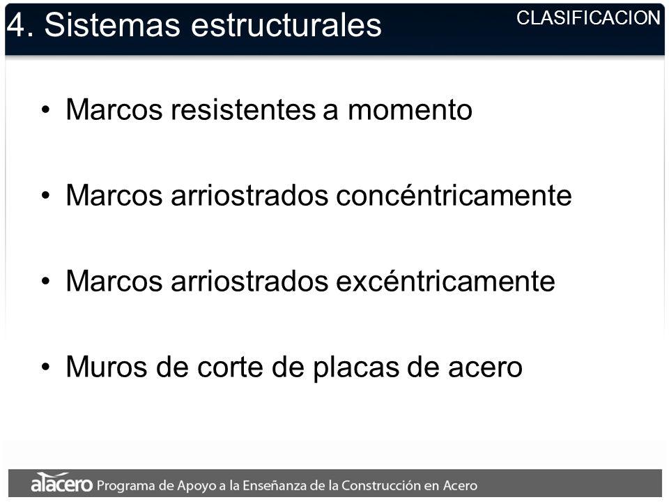 CLASIFICACION 4. Sistemas estructurales Marcos resistentes a momento Marcos arriostrados concéntricamente Marcos arriostrados excéntricamente Muros de