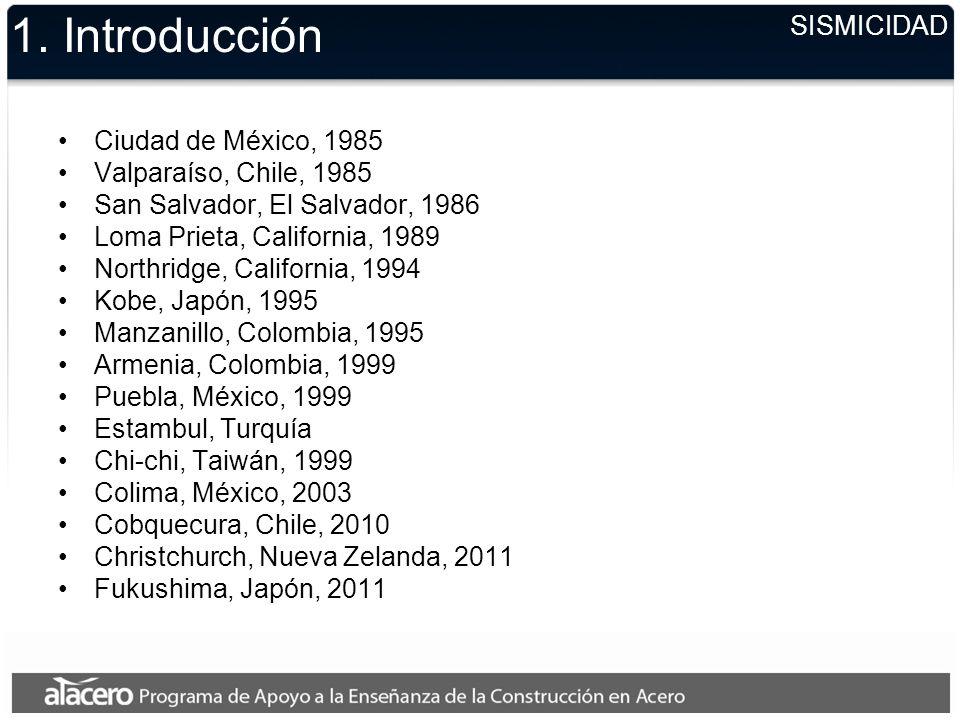1. Introducción Ciudad de México, 1985 Valparaíso, Chile, 1985 San Salvador, El Salvador, 1986 Loma Prieta, California, 1989 Northridge, California, 1