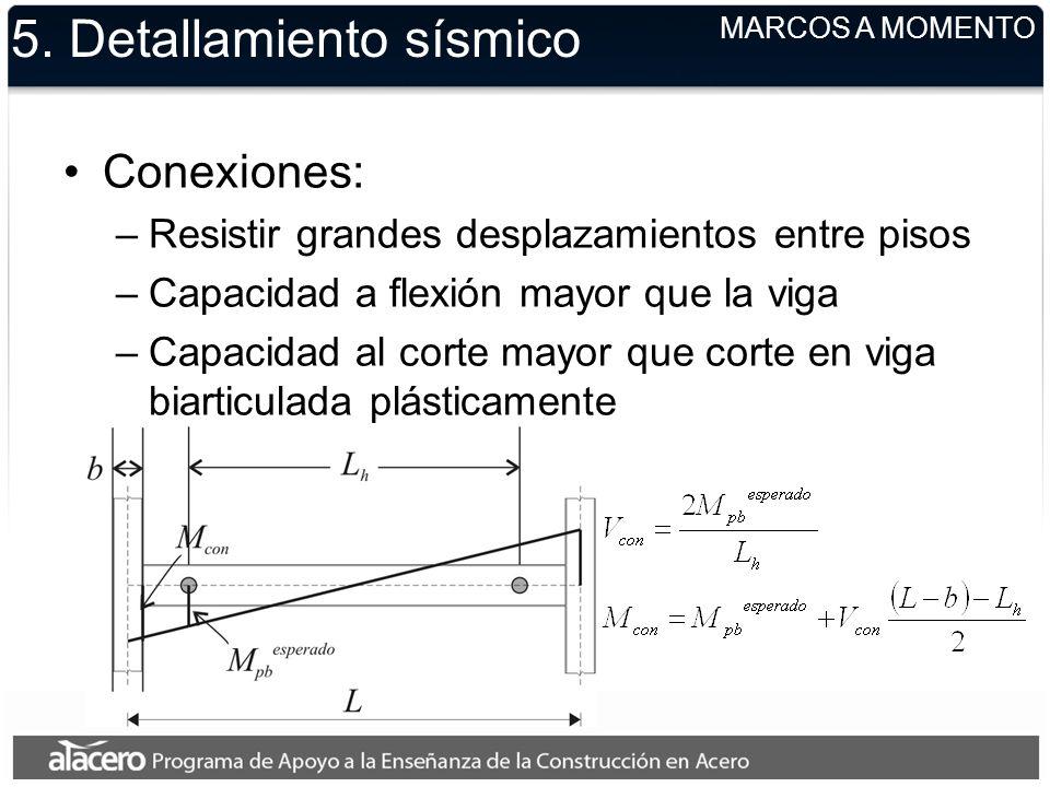 5. Detallamiento sísmico Conexiones: –Resistir grandes desplazamientos entre pisos –Capacidad a flexión mayor que la viga –Capacidad al corte mayor qu