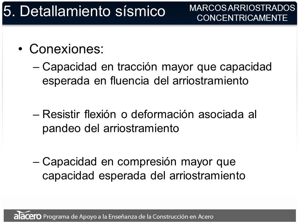 5. Detallamiento sísmico Conexiones: –Capacidad en tracción mayor que capacidad esperada en fluencia del arriostramiento –Resistir flexión o deformaci