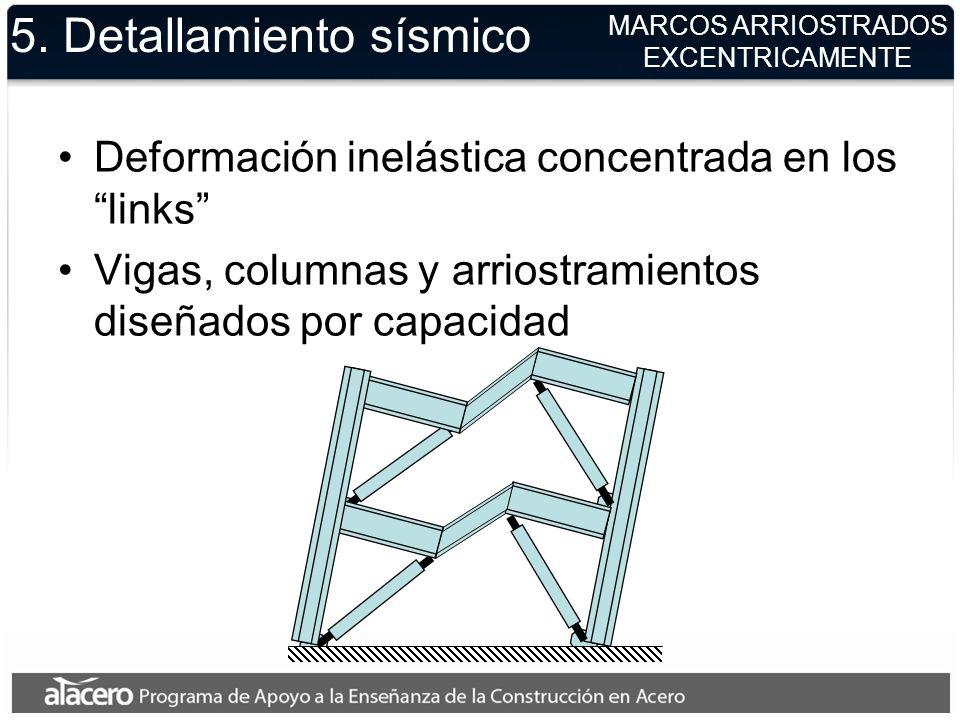 5. Detallamiento sísmico Deformación inelástica concentrada en los links Vigas, columnas y arriostramientos diseñados por capacidad MARCOS ARRIOSTRADO