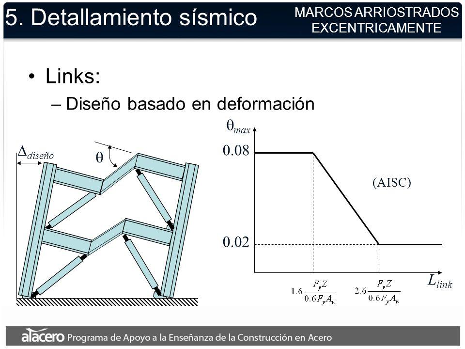 5. Detallamiento sísmico Links: –Diseño basado en deformación MARCOS ARRIOSTRADOS EXCENTRICAMENTE diseño L link max 0.08 0.02 (AISC)