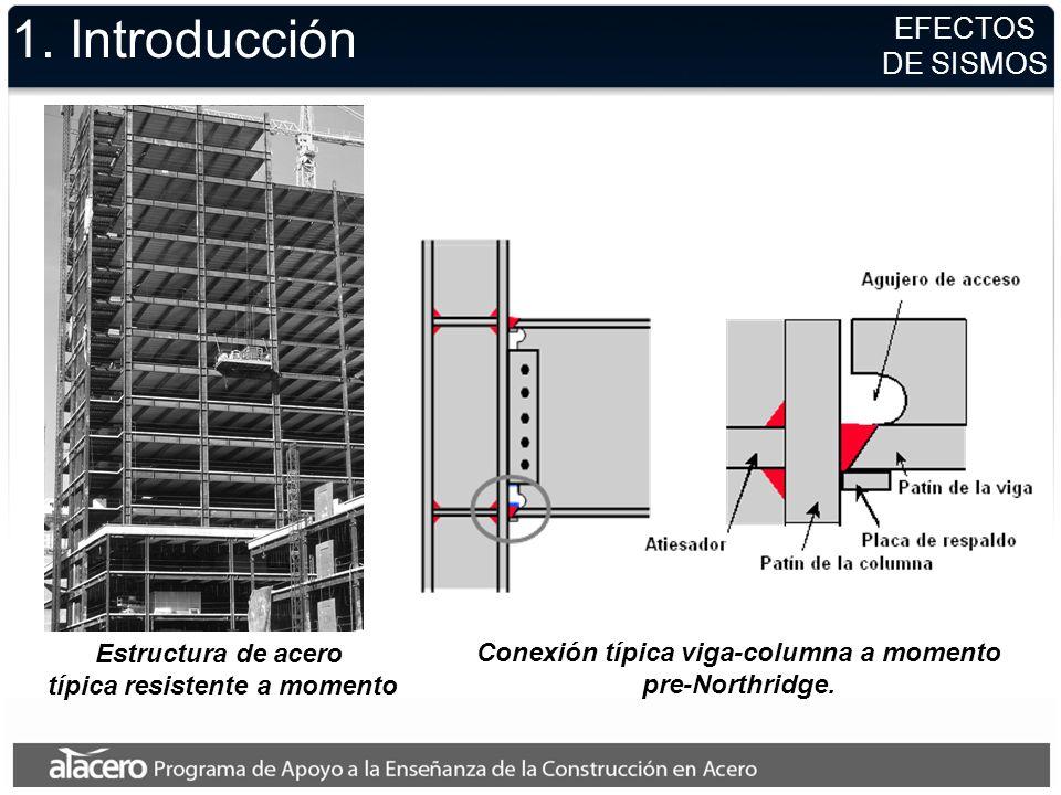 Estructura de acero típica resistente a momento 1. Introducción Conexión típica viga-columna a momento pre-Northridge. EFECTOS DE SISMOS