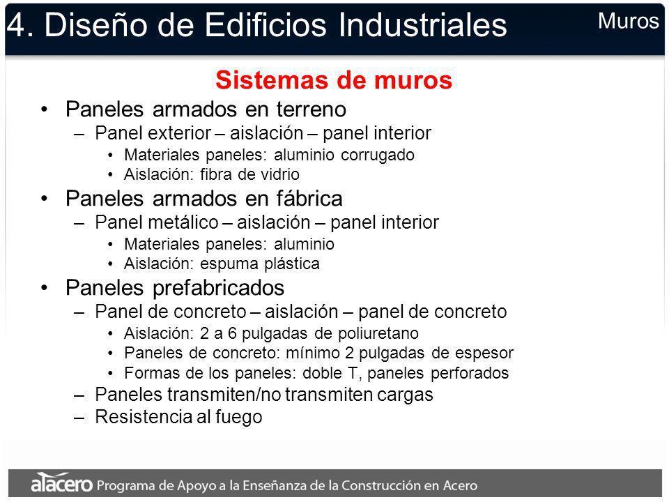4. Diseño de Edificios Industriales Sistemas de muros Paneles armados en terreno –Panel exterior – aislación – panel interior Materiales paneles: alum