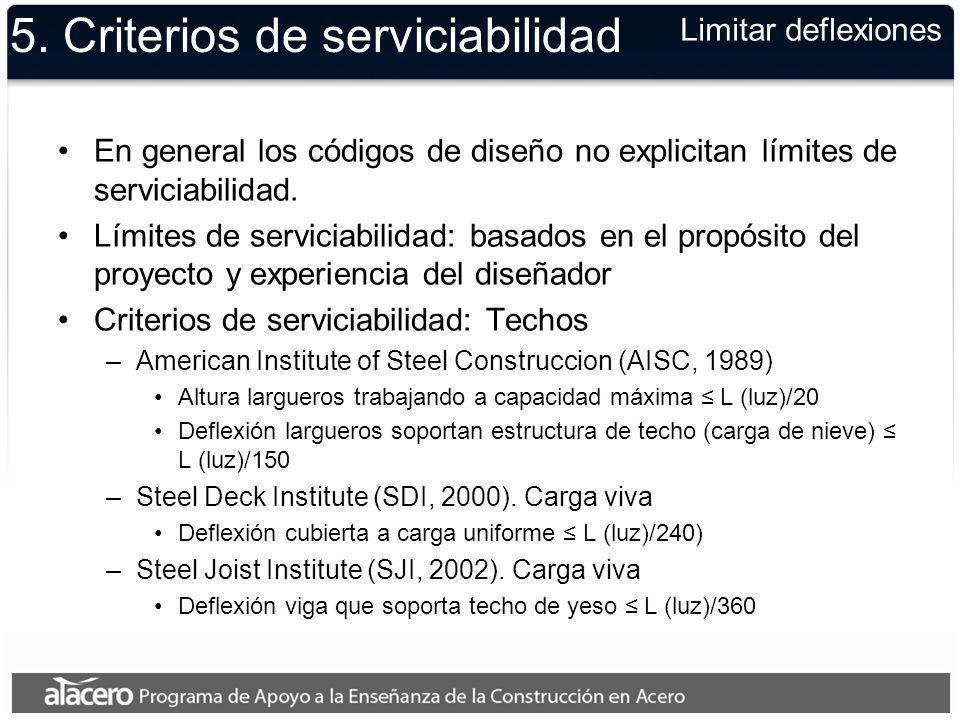 5. Criterios de serviciabilidad En general los códigos de diseño no explicitan límites de serviciabilidad. Límites de serviciabilidad: basados en el p