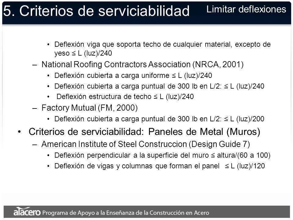 5. Criterios de serviciabilidad Deflexión viga que soporta techo de cualquier material, excepto de yeso L (luz)/240 –National Roofing Contractors Asso