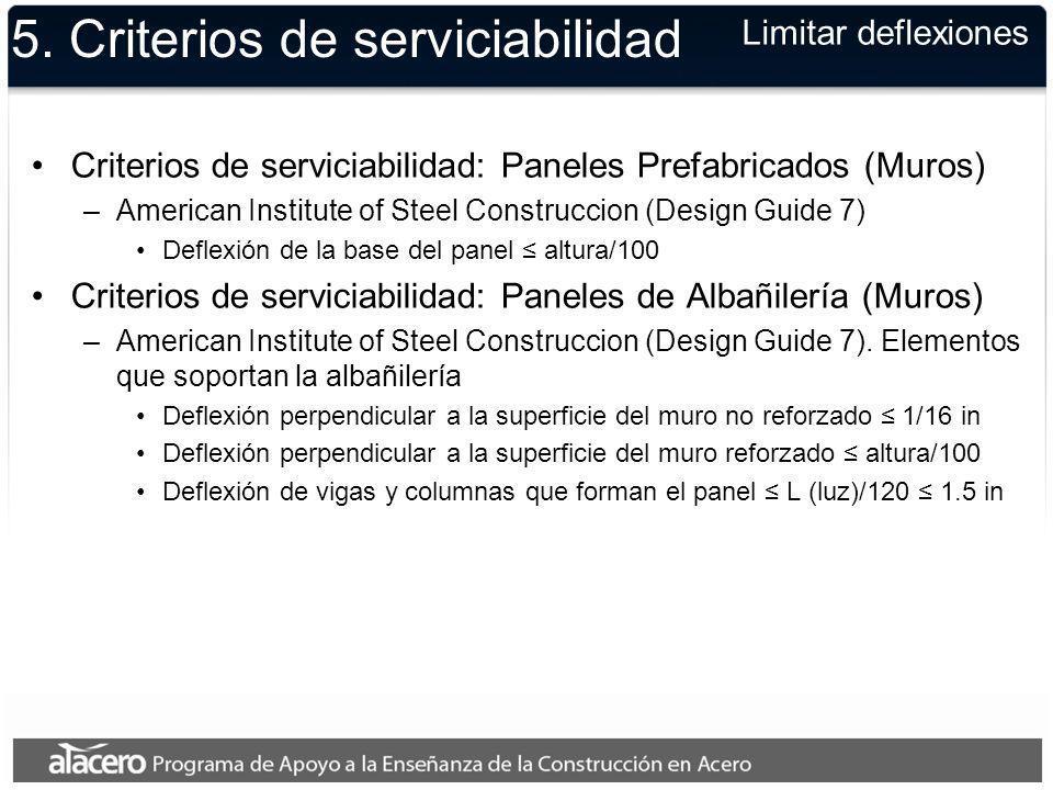 5. Criterios de serviciabilidad Criterios de serviciabilidad: Paneles Prefabricados (Muros) –American Institute of Steel Construccion (Design Guide 7)