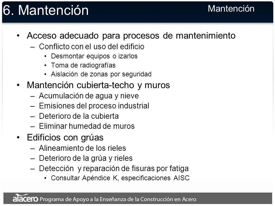 6. Mantención Acceso adecuado para procesos de mantenimiento –Conflicto con el uso del edificio Desmontar equipos o izarlos Toma de radiografías Aisla