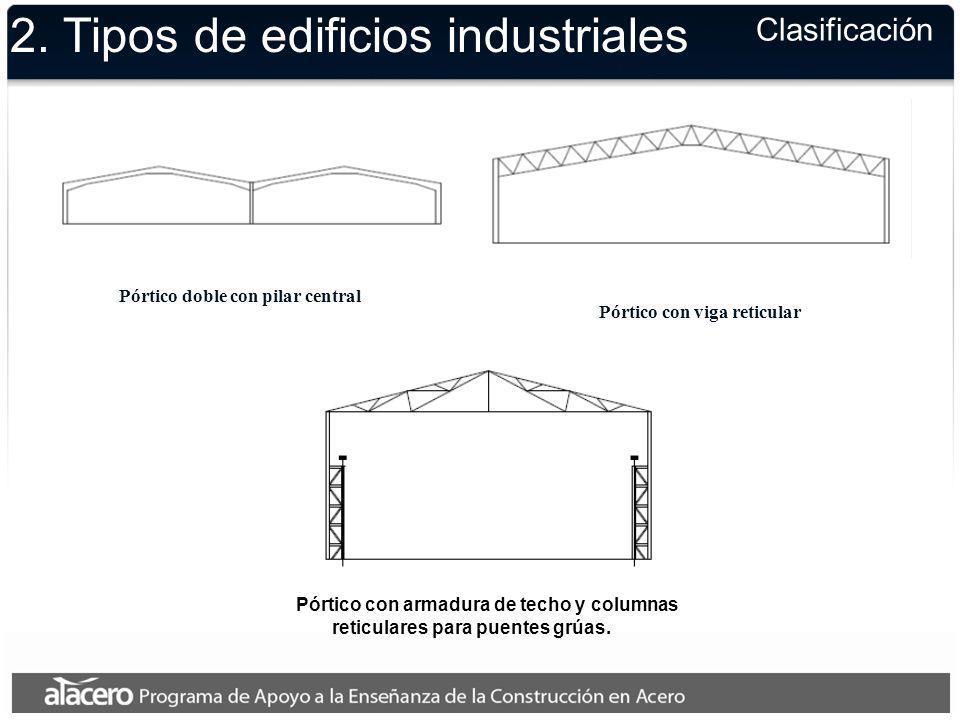 2. Tipos de edificios industriales Clasificación Pórtico doble con pilar central Pórtico con viga reticular Pórtico con armadura de techo y columnas r