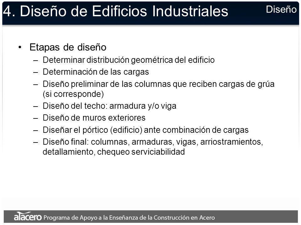 4. Diseño de Edificios Industriales Etapas de diseño –Determinar distribución geométrica del edificio –Determinación de las cargas –Diseño preliminar