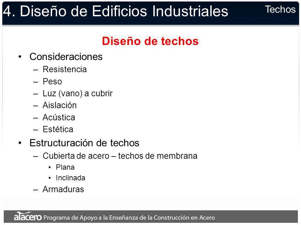 4. Diseño de Edificios Industriales Diseño de techos Consideraciones –Resistencia –Peso –Luz (vano) a cubrir –Aislación –Acústica –Estética Estructura