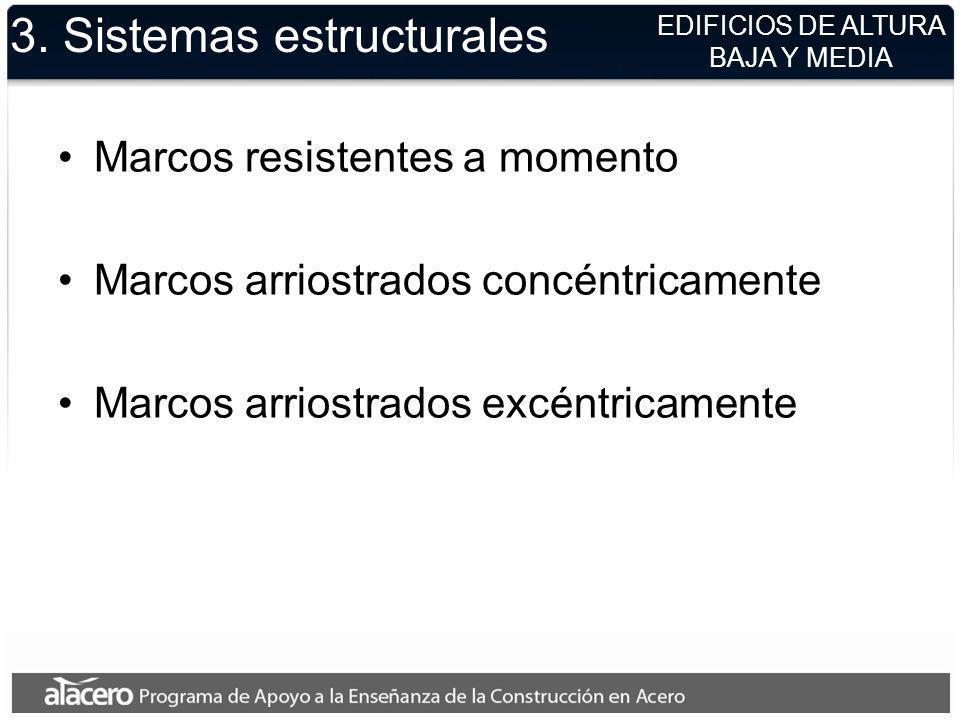 3. Sistemas estructurales Marcos resistentes a momento Marcos arriostrados concéntricamente Marcos arriostrados excéntricamente EDIFICIOS DE ALTURA BA