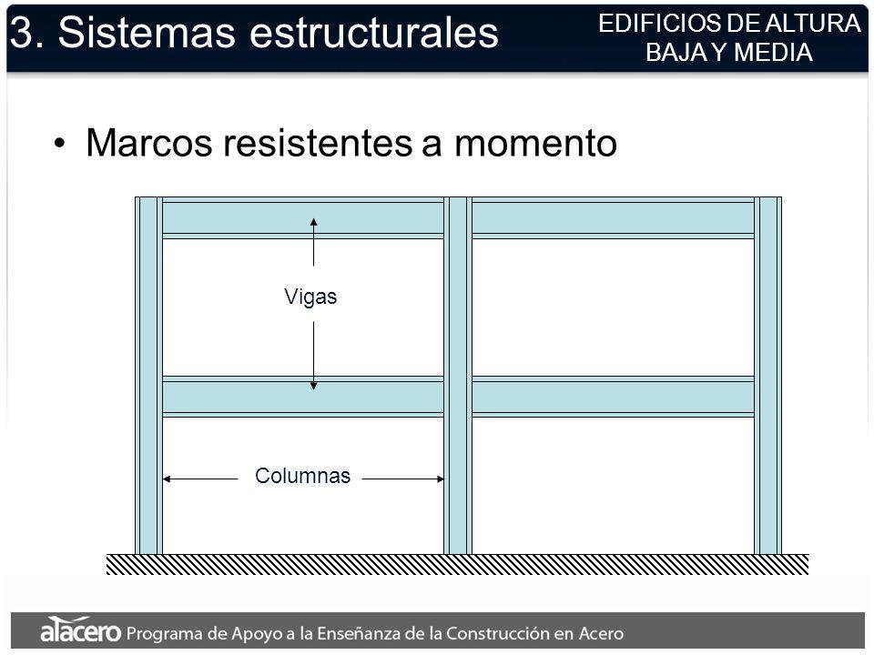 3. Sistemas estructurales Marcos resistentes a momento Columnas Vigas EDIFICIOS DE ALTURA BAJA Y MEDIA