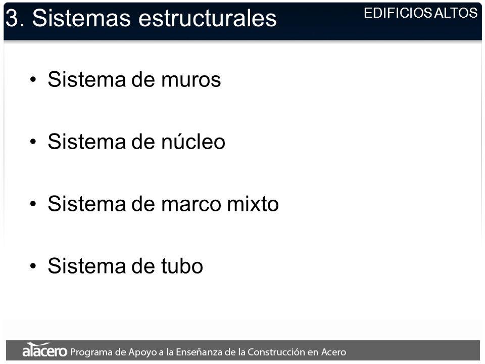 EDIFICIOS ALTOS 3. Sistemas estructurales Sistema de muros Sistema de núcleo Sistema de marco mixto Sistema de tubo