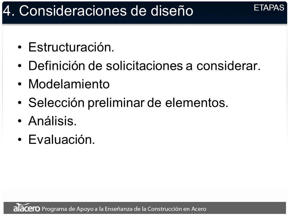4. Consideraciones de diseño Estructuración. Definición de solicitaciones a considerar. Modelamiento Selección preliminar de elementos. Análisis. Eval