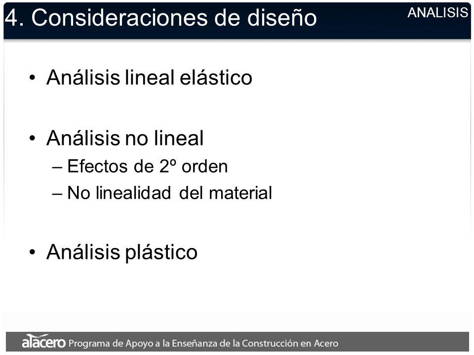 4. Consideraciones de diseño Análisis lineal elástico Análisis no lineal –Efectos de 2º orden –No linealidad del material Análisis plástico ANALISIS